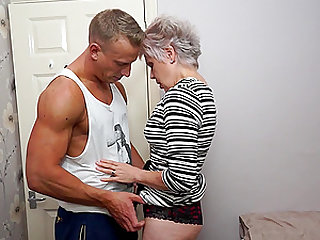 Blonde short haired mature granny Lady Sextasy wants a hard cock